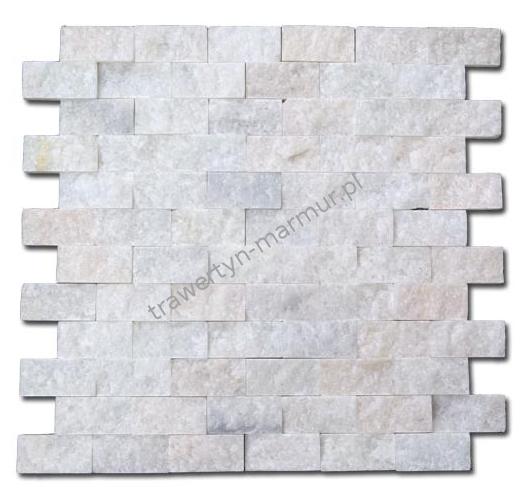 Mozaika marmurowa Biały Marmur Łupek 2,5cm x 5cm