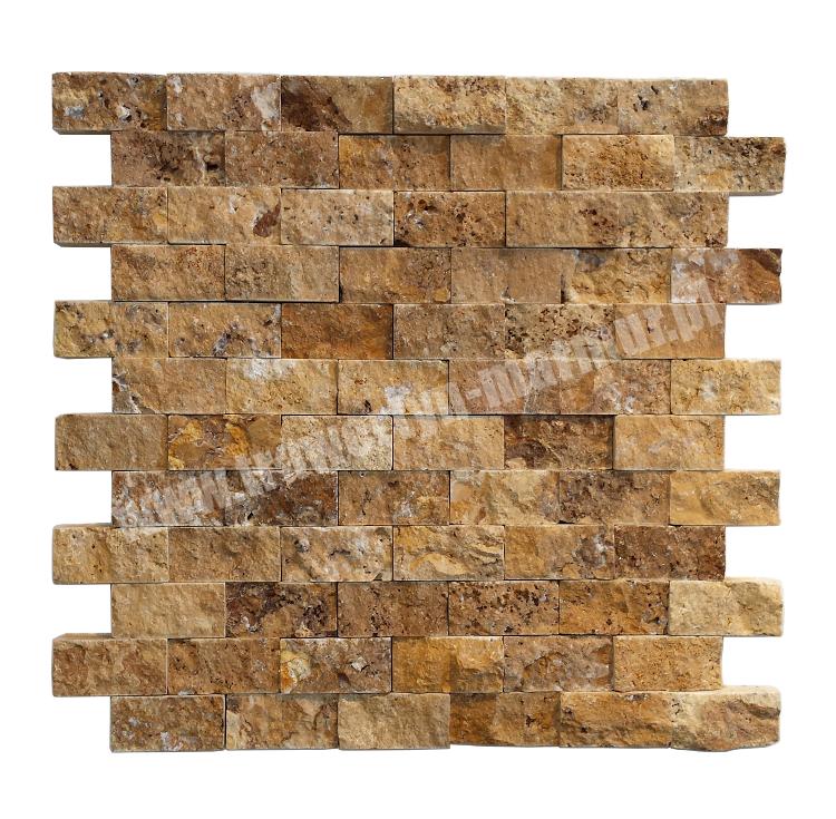 Mozaika trawertynowa Yellow Łupek 2,5cm x 5cm