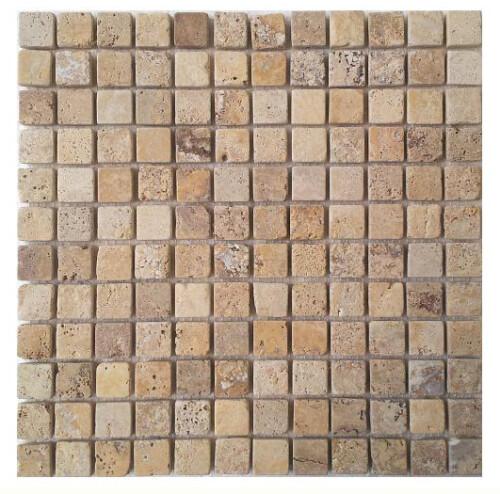 Mozaika trawertynowa Yellow Tumbled 2cm x 2cm