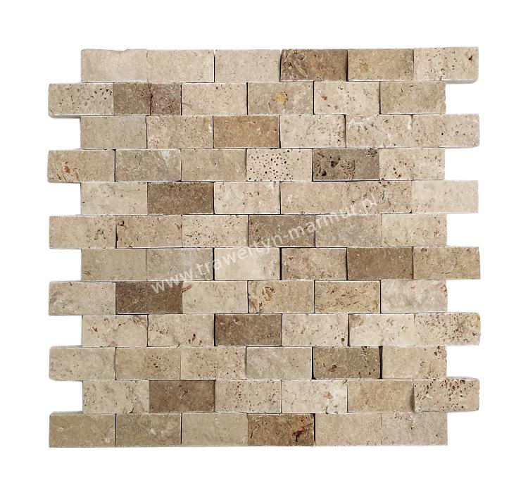 Mozaika trawertynowa Ivory + Noce Łupek 2,5cm x 5cm