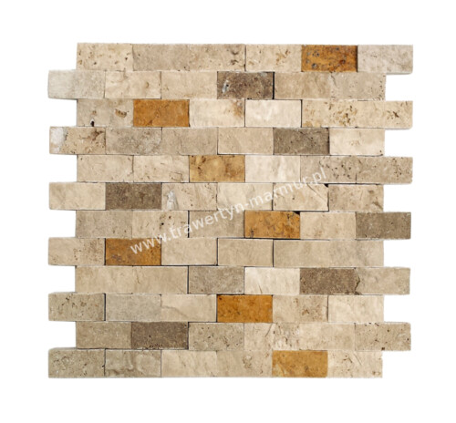 Mozaika trawertynowa Ivory + Noce + Yellow Łupek 2,5cm x 5cm