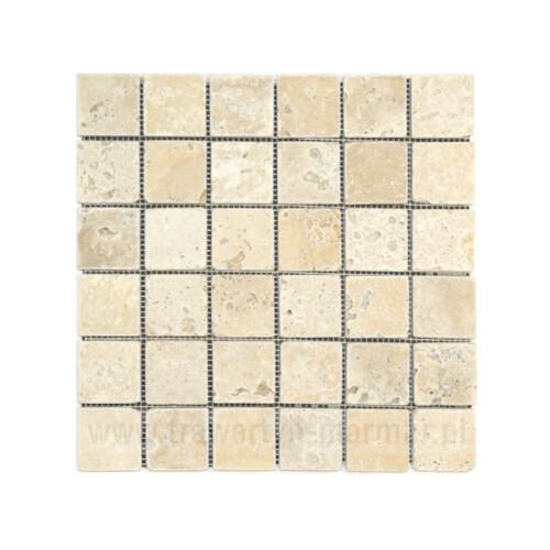 Mozaika kamienna trawertyn Ivory Tumbled 5cm x 5cm