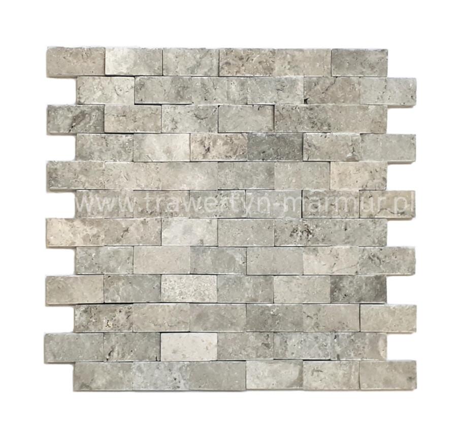 Mozaika kamienna trawertyn Silver Łupek 2,5cm x 5cm