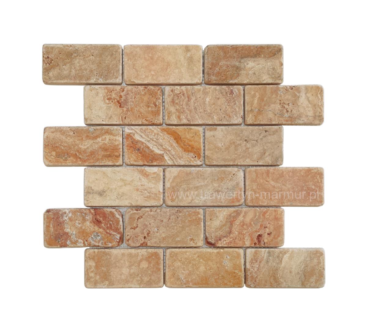 Mozaika kamienna trawertynowa Yellow Tumbled 5cm x 10cm