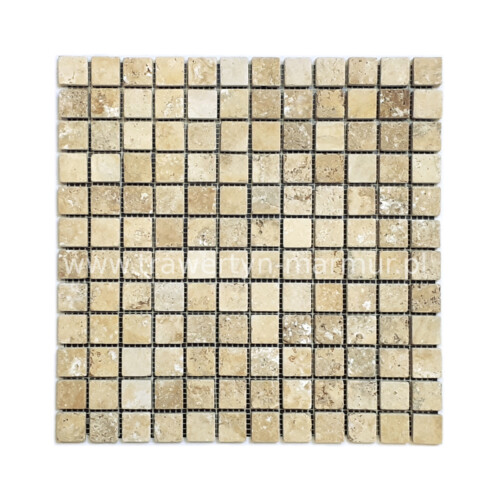 Mozaika kamienna trawertyn Yellow Tumbled 2cm x 2cm