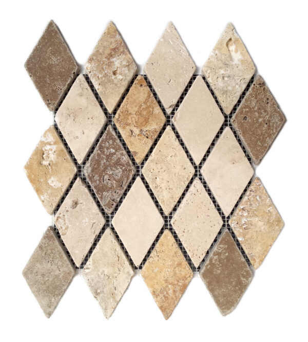 Mozaika trawertynowa Romby Mix Ivory + Noce + Yellow Tumbled