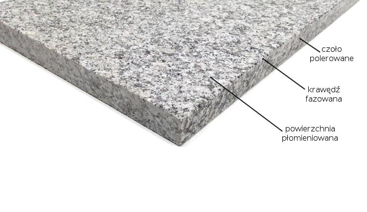 Stopnica schodowa granit Grey Light G602 płomieniowana 150cm x 33cm x 3cm