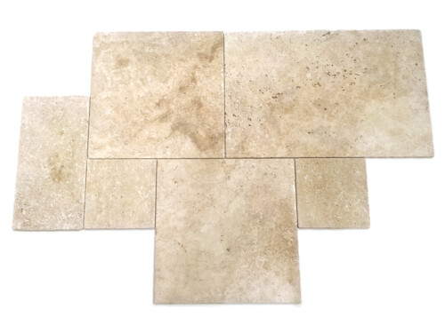 Trawertyn Ivory Tumbled Square Pavio (french pattern)