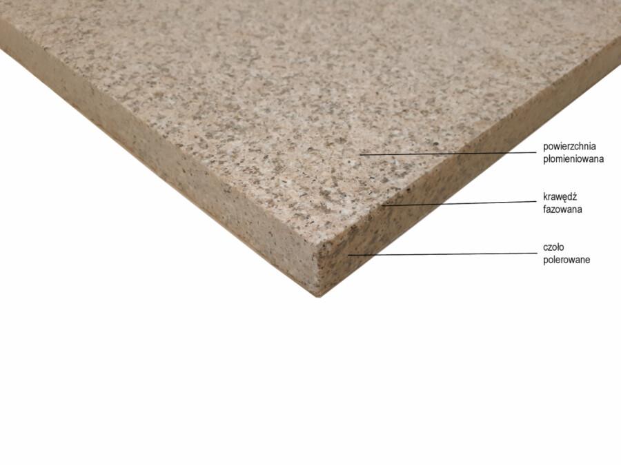 Stopnica schodowa granit Shrimp Red G681 płomieniowana 150cm x 33cm x 3cm