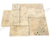 Trawertyn Ivory Tumbled Antique Square Pavio