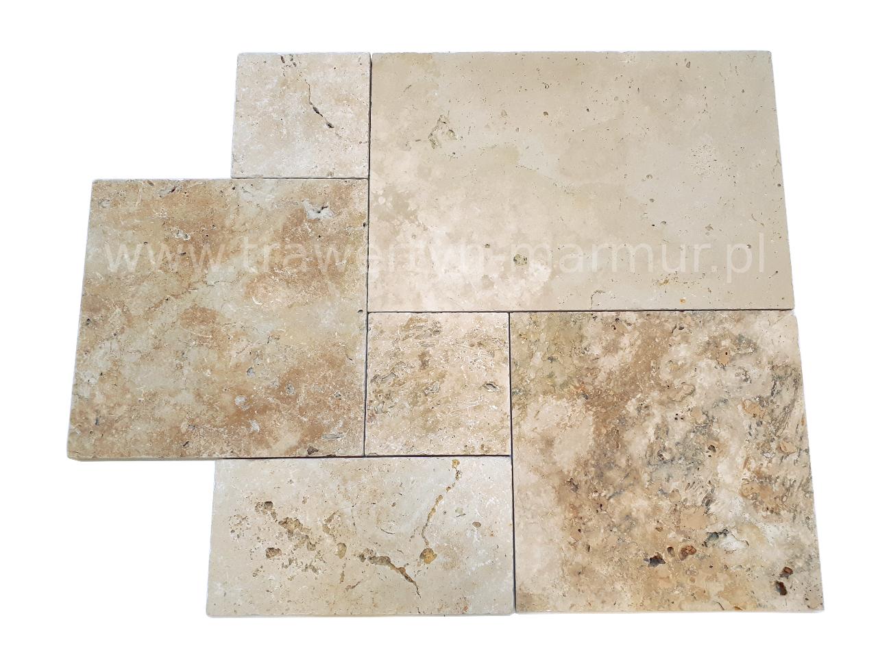 Trawertyn płyty tarasowe Ivory Tumbled Antique Square Pavio 3cm