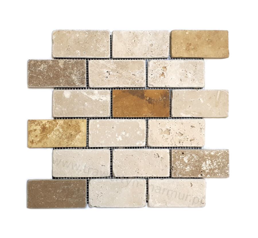 Mozaika trawertyn Ivory + Noce + Yellow Tumbled 5cm x 10cm
